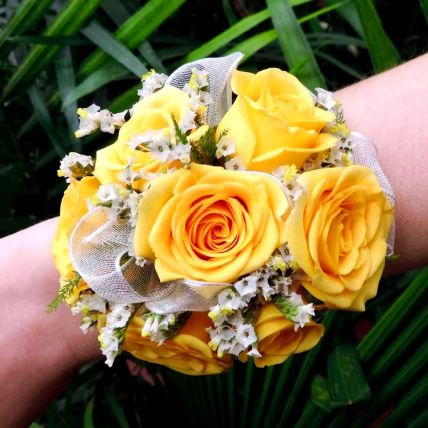 Vivid Yellow Roses Corsage: Wedding Flowers