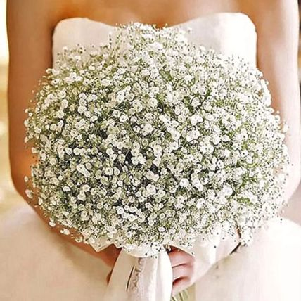 White Gypsophila Bridal Bouquet: Wedding Flowers