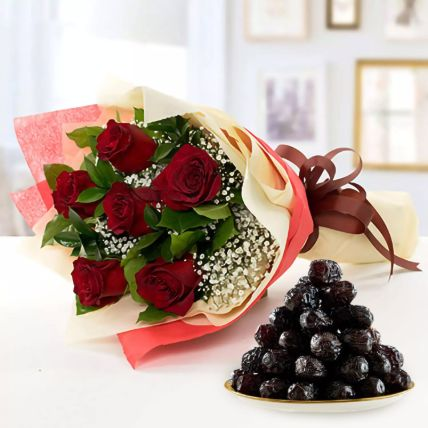 Bunch of 6 Red Roses & Ajwa Dates: Gifts for Ramadan