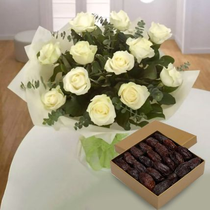 Delicious Dates & White Roses Bunch: Gifts For Husband