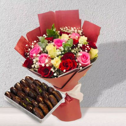 Mix Flowers With Dates Box: Buy Gifts