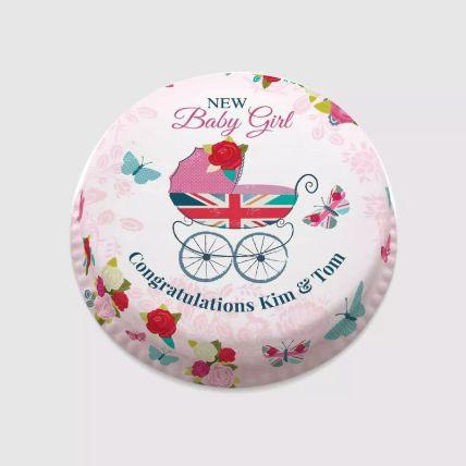 New Baby Girl Photo Cake: