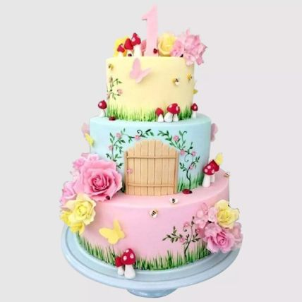 3 Tier Magical Land Cake: 1st Birthday Cakes