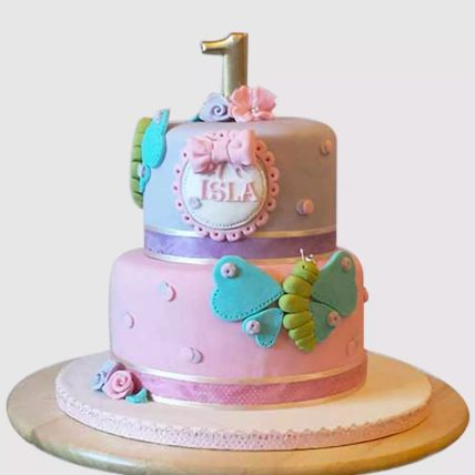 Beautiful 2 Tier Butterfly Cake: First Birthday Cakes