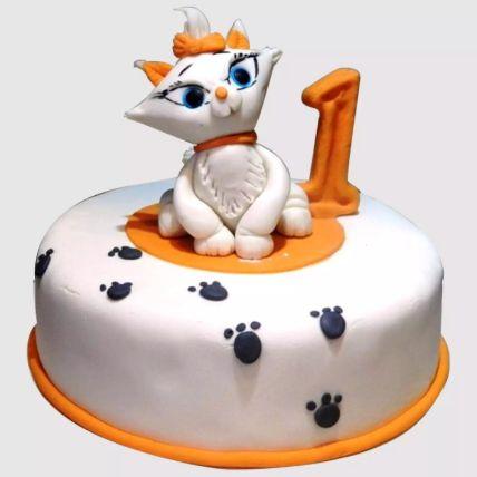 White Cat Birthday Cake: First Birthday Cakes