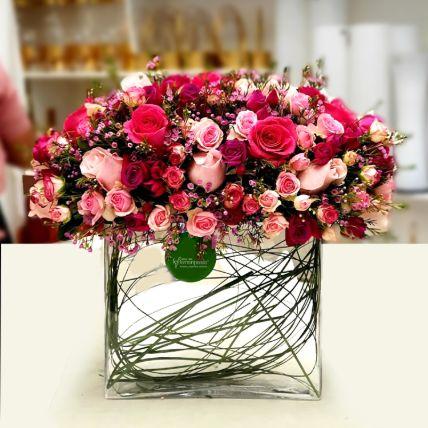 Exotic Mixed Roses Glass Vase Arrangement: