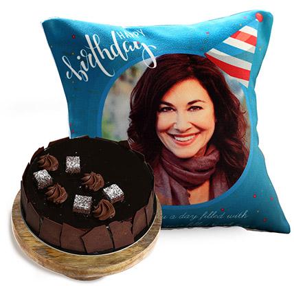 Birthday Cushion And Choco Sponge Cake: Personalised Gifts