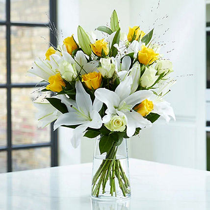 Lilies And Yellow Roses: Lilies Flowers