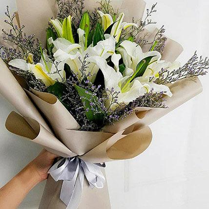 Mini White Lily Bouquet: Lilies Flowers