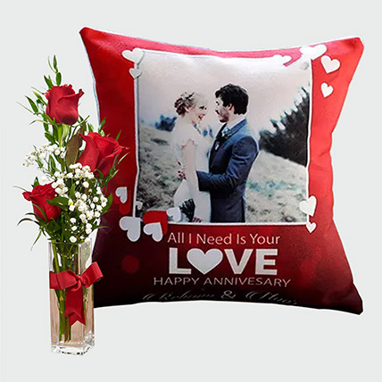 Special Personalised Cushion And Flowers: Combos Gifts