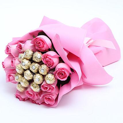 Special Roses And Ferrero Rocher Bouquet: Flowers  in Saudi Arabia