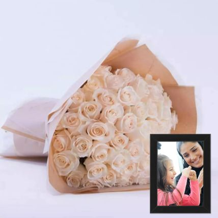 Beautiful White Roses Bouquet With Photo Frame: Personalised Gifts