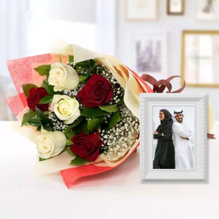 Birch Effect Classy Photo Frame & Roses Bouquet: Fathers Day Personalised Gifts