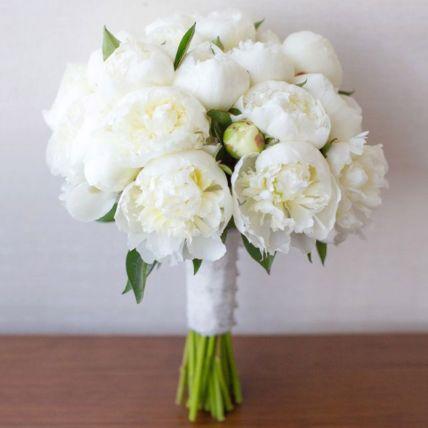 20 White Peonies Bouquet: Flower Bouquets