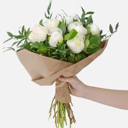 Elegant 10 White Peonies Bouquet: Flower Bouquets