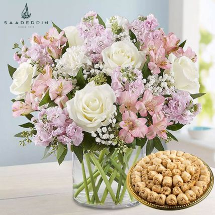 Delicate Flowers Vase And Baklawa Sweets: