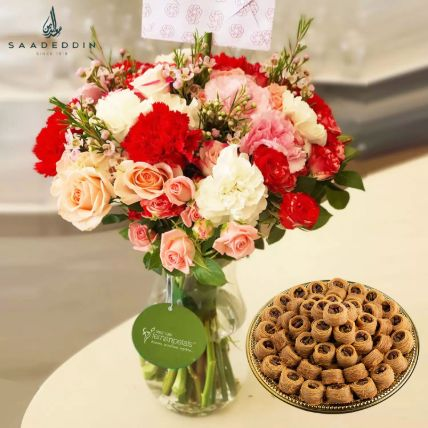 Nightingale Sweet And Mix Flower Vase: Flowers and Sweets
