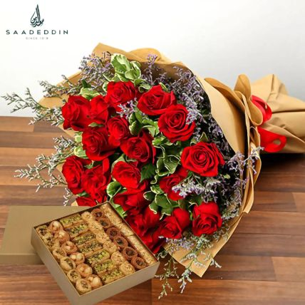 Sweet Rosy Surprise Gift Hamper: Flowers and Sweets
