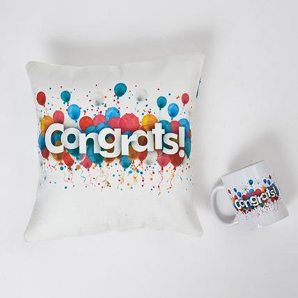 Colourful Congrats Cushion N Mug Combo: