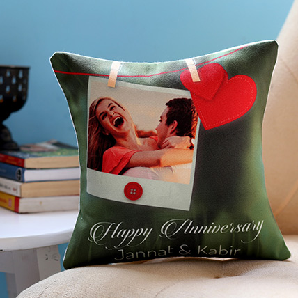 Personalised Anniversary Heart Cushion: Personalized Gifts Delivery