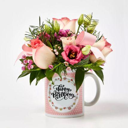 Birthday Mug Flowers Arrangement: Gift Combos