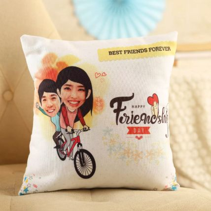 Personalised Friends On Cycle Cushion: Personalized Gifts Delivery