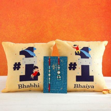 Blue Lumba Rakhi Set And 2 Bhaiya Bhabhi Cushions: Rakhi for Brother