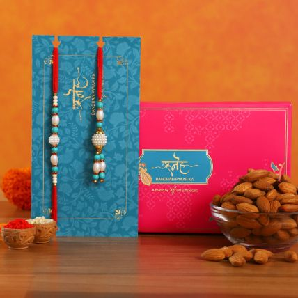 Blue Pearl And Lumba Rakhi Set With Healthy Almonds: Rakhi With Dryfruits