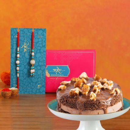Blue Pearl And Lumba Rakhi With Choco Kunafa: Rakhi With Sweets
