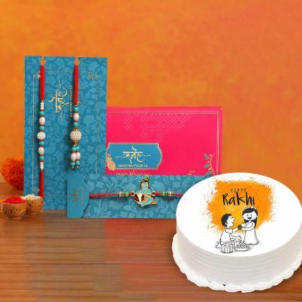 Happy Rakhi Cake With Rakhi Set: Kids Rakhi