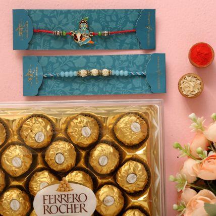 Sea Blue Pearl And Bal Krishna Rakhi Set With 16 Pcs Ferrero Rocher: