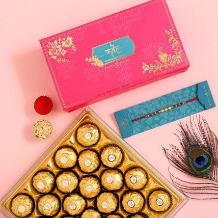 Traditional Pearl Studded Mauli Rakhi And 16 Pcs Ferrero Rocher: Rakhi With Chocolates