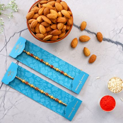 Traditional Pearl Studded Rakhi Set And Healthy Almonds: