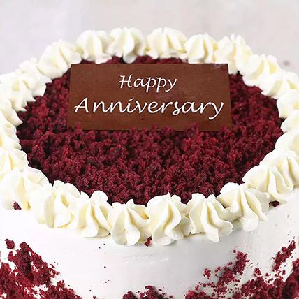 500gm Creamy Red Velvet Cake For Anniversary: Order Red Velvet Cakes