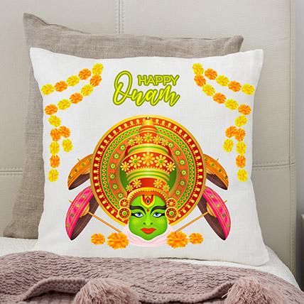 Happy Onam Kathakali White Printed Cushion: