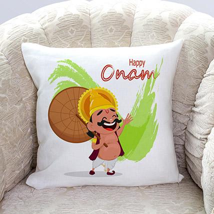 Happy Onam King Mahabali Printed Cushion: Onam Gifts