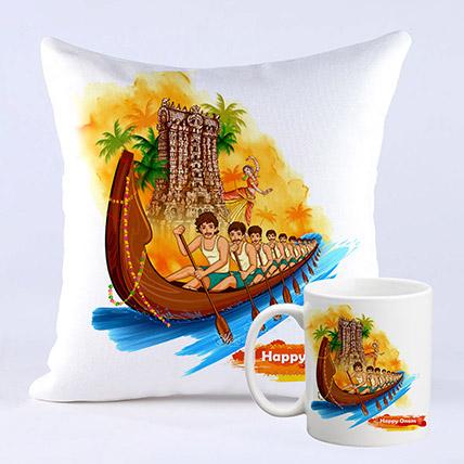 Happy Onam Vallam Kali Cushion And Mug Combo: