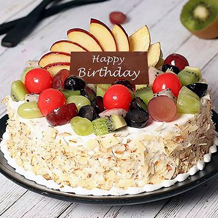 Vanilla Fruit Cake for Birthday Half Kg: Fresh Fruit Cakes