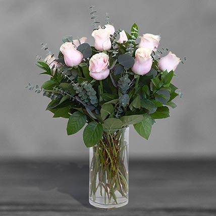 12 Sweet Pink Roses Glass Vase Arrangement: Birthday Flowers
