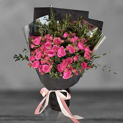 Cherry Blossom Sprayed Rose Bouquet: Premium Flowers