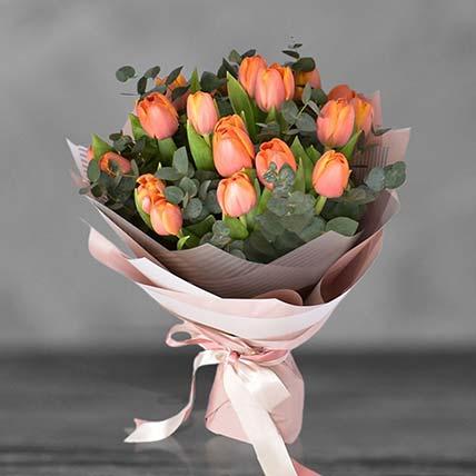 Orange Tulip Bouqet: Premium Flowers