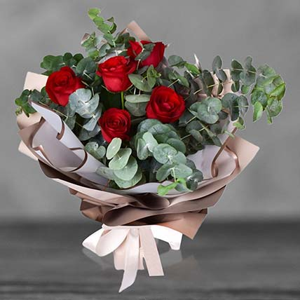 Passionate 05 Red Roses Bouquet: Flowers  in Saudi Arabia