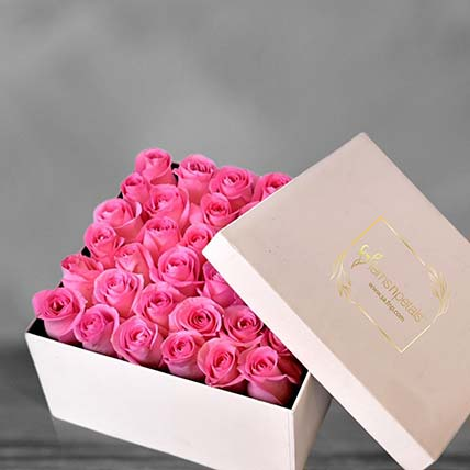 Pink Roses In A Square Box: Flowers In Box