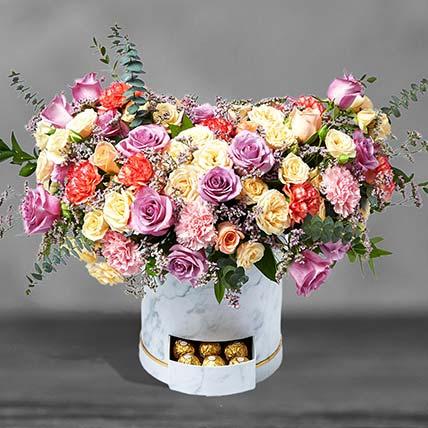 Premium Mixed Flowers White Box Arrangement:
