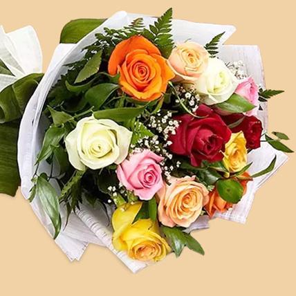 12 Mixed Color Roses Bouquet: Flower Bouquets