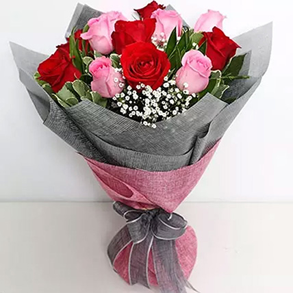 6 Pink And 6 Red Roses Bunch: Flower Bouquets