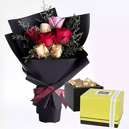 Mixed Roses Posy & Patchi Chocolates: Gift Combos
