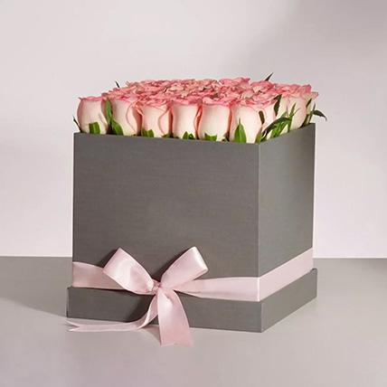 Premium Pink Roses Box Arrangement: