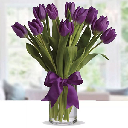 Purple Tulip Arrangement: Same Day Delivery Flowers