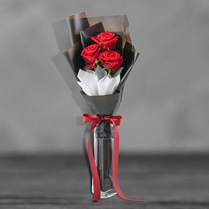 Romantic Red Roses Arrangement: Mixed Flowers